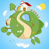 Spring Day on Planet Earth. A spring day on planet Earth: a green cartoon world with houses, flowers, trees, rainbow, sun and clouds. Useful also for educational Royalty Free Stock Images