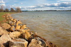 Spring Day on Rutland Water Shoreline. Rutland Water, largest man made resevoir in Europe stock images