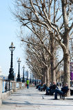 Spring day South Bank promenade Stock Photo