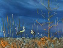 Spring day. Storks on the field under the tree. Meadow with dry grass and bushes. Dark blue sky. Oil painting Royalty Free Stock Images