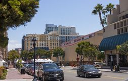 In spring day on the Streets of San Diego city. Royalty Free Stock Photo