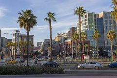 In spring day on the Streets of San Diego city Stock Photography