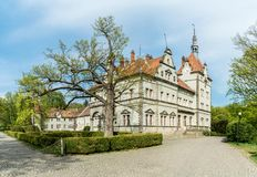 Spring day view of castle-palace of the Count Schonborn near Mukachevo, Zakarpattia, Ukraine. Spring day view of castle-palace of the Count Schonborn near royalty free stock photography