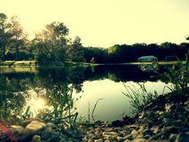 Spring daze. Reflection off of pond royalty free stock photography