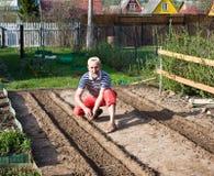 Spring de werken in de tuin op Royalty-vrije Stock Foto