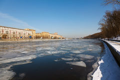 Spring debacle at the Moscow River. In the background of Moscow Stock Photo