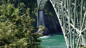 Spring at Deception Pass, Washington State, USA. The beautiful Deception Pass in Washington State, USA. Iron bridge crossing an ocean inlet Royalty Free Stock Image