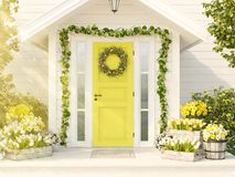 Spring decorated porch with a lot of flowers. 3d rendering. 3d rendering. spring decorated porch with tulips and other flowers Royalty Free Stock Image