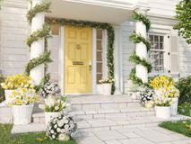 Spring decorated porch with a lot of flowers. 3d rendering. 3d rendering. spring decorated porch with tulips and other flowers Stock Photography