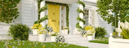 Spring decorated porch with a lot of flowers. 3d rendering. 3d rendering. spring decorated porch with tulips and other flowers Royalty Free Stock Photography