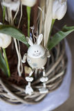 Spring decoration- flower shop. Easster rabbit decoration. white wooden rabbit Stock Photography