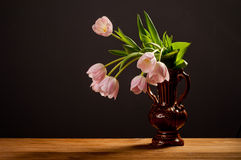 Spring decoration. Pink tulips in a vase Royalty Free Stock Photos