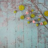 Spring decorations on the wooden background. Some branches, butterflies and more