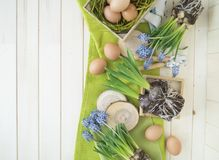 Spring decorative composition. Flowers in a basket and pots of hyacinth, muscari, narcissus. Wooden background. Cozy decor of the Easter. Easter eggs. Colors Royalty Free Stock Images