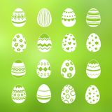 Spring decorative eggs of set vector collection. Isolated on green background illustration stock illustration