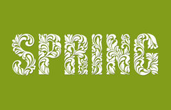 SPRING. Decorative Font made of swirls and floral elements on a green background.  Royalty Free Stock Photography