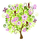 Spring decorative tree vector illustration