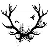 Spring deer silhouette. vector illustration Royalty Free Stock Image