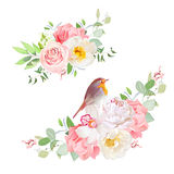 Spring delicate bouquets vector design objects. Peachy rose, white peony, pink carnation, orchid, wild flowers, eucalyptus.Small cute robin bird. Wedding Royalty Free Stock Photography