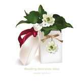 Spring delicate flowers bouquet card background. Beautiful Postcard for Weddings, Birthday, Anniversary. Vector Royalty Free Stock Images