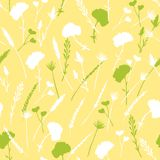 Green, yellow and white wild herbs and flowers seamless pattern vector illustration