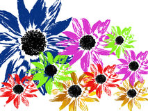 Spring design. Multicoloured designed flowers on white background.  Each of them is available in transparent (png) format, by request. Of course, in every colour Stock Photography