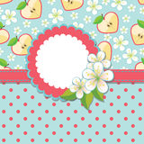 Spring Design template.Apple, flowers and polka do. Spring or summer Design template.Apple Flowers and Apple halves in the shape of a heart and polka dot an stock illustration