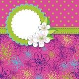 Spring Design template.Cherry flowers background a. Spring or summer background. Spring Design template.Cherry flowers or or Apple Flowersbackground and poka dot vector illustration