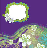 Spring Design template.Cherry flowers and line bac Stock Image