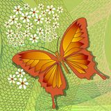 Spring design theme with yellow butterfly on uneven grid with white flowers on light green background, abstract vector. Illustration Stock Photos