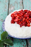 Spring dessert with  strawberries Royalty Free Stock Photography