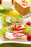 Spring diet breakfast. Spring diet  breakfast with cottage cheese and vegetables Stock Images