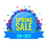Spring discount concept banner. Sale label. Spring discount concept banner with beautiful fantasy flower, fifty percent off. Spring discount concept banner. Sale Royalty Free Stock Photography