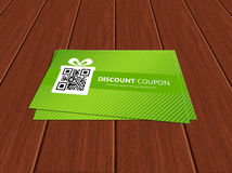 Spring discount coupons lying on table. Spring discount coupons lying on wooden table Stock Photos