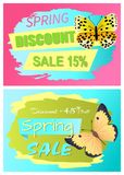 Spring Discount Sale 15 Off Discount 45 Set. Spring discount 15 reduction to 45 set of posters with butterflies. Sale best offer price off labels collections royalty free illustration