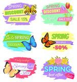 Spring Discount Sale 15 New Offer Super Price Set. Spring discount sale 15 discount new offer big sale 50 only today best offer 30 off vector of promo vector illustration