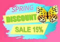 Spring Discount Sale 15 Off Butterfly Yellow Color. Spring discount sale 15 off emblem butterfly of yellow color with black dots, morpho springtime creature stock illustration