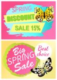 Spring Discount Sale 15 Off Butterfly Yellow Color. Spring discount sale 15 off emblems set butterflies of yellow color with black dots, butterfly springtime Royalty Free Illustration
