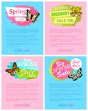 Spring Discount Sale 15 Off Emblems on Posters. With butterflies with black dots, butterfly springtime vector illustration promo stickers web banners Vector Illustration