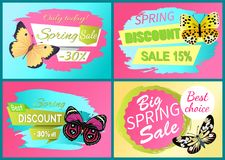 Spring Discount Sale Off Set Emblems Butterflies. Spring discount sale 15 off set of emblems butterflies with black dots, butterfly springtime creatures vector stock illustration