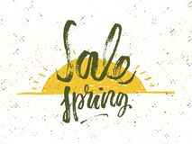 Spring discounts. Solar frame with text. Romantic greeting card. Spring time formulation with a hand drawn on white background. Ve Royalty Free Stock Images