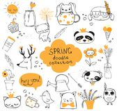 Spring doodle collection Stock Image