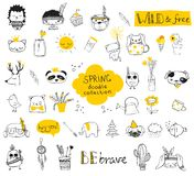 Spring doodle collection Royalty Free Stock Image