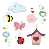 Spring doodle elements Royalty Free Stock Images