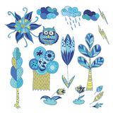 Spring Doodle Vector Design Elements Set Stock Photos