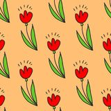 Spring doodles color set. Hand draw flowers, sun, bird, cloud with rain, a raincoat, a balance bike, birdhouse. Cute background, royalty free illustration