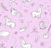 Spring doodles seamless pattern Royalty Free Stock Photos