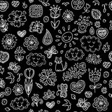 Spring doodles set. Hand draw flowers, sun, clouds, butterflies. Stock Image