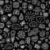 Spring doodles set. Hand draw flowers, sun, clouds, butterflies. Stock Image