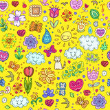 Spring doodles set. Hand draw flowers, sun, clouds, butterflies. Stock Photo